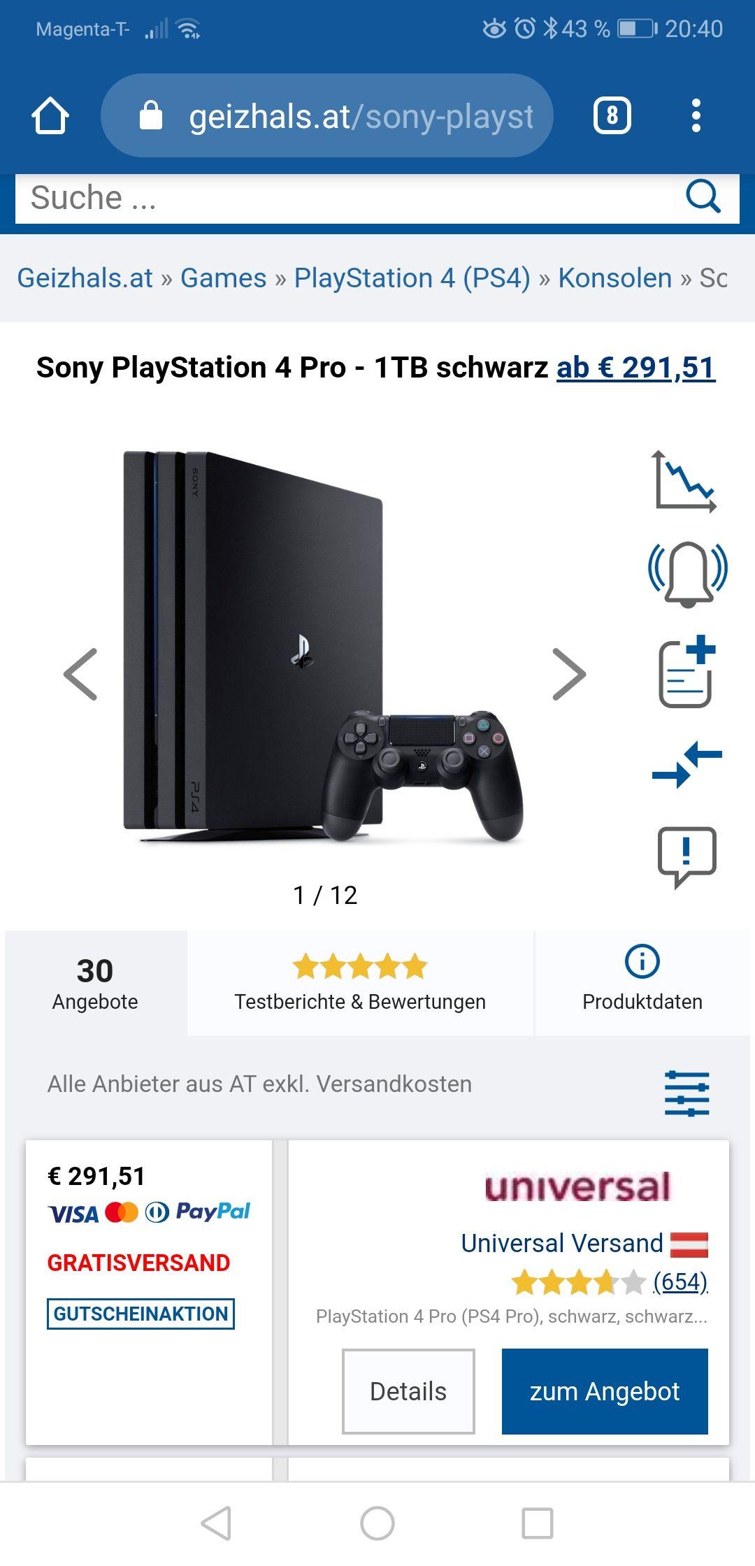 PS4 Pro 1TB inkl. 3 Jahre Garantie (zusätzlich -8% Cashback möglich)