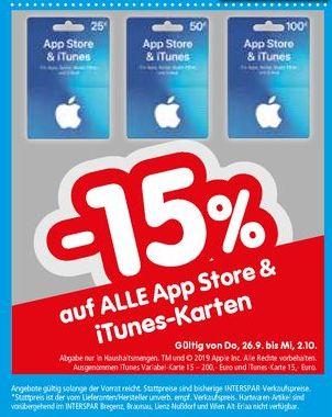 [Interspar ab 26.09] 15% Rabatt auf alle Geschenkkarten (25,-€ / 50€ / 100 €) für App Store & iTunes