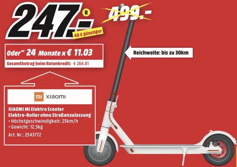 Xiaomi M365 weiß/schwarz mit D-A Packs von MediaMarkt Kaiserslautern nach Österreich