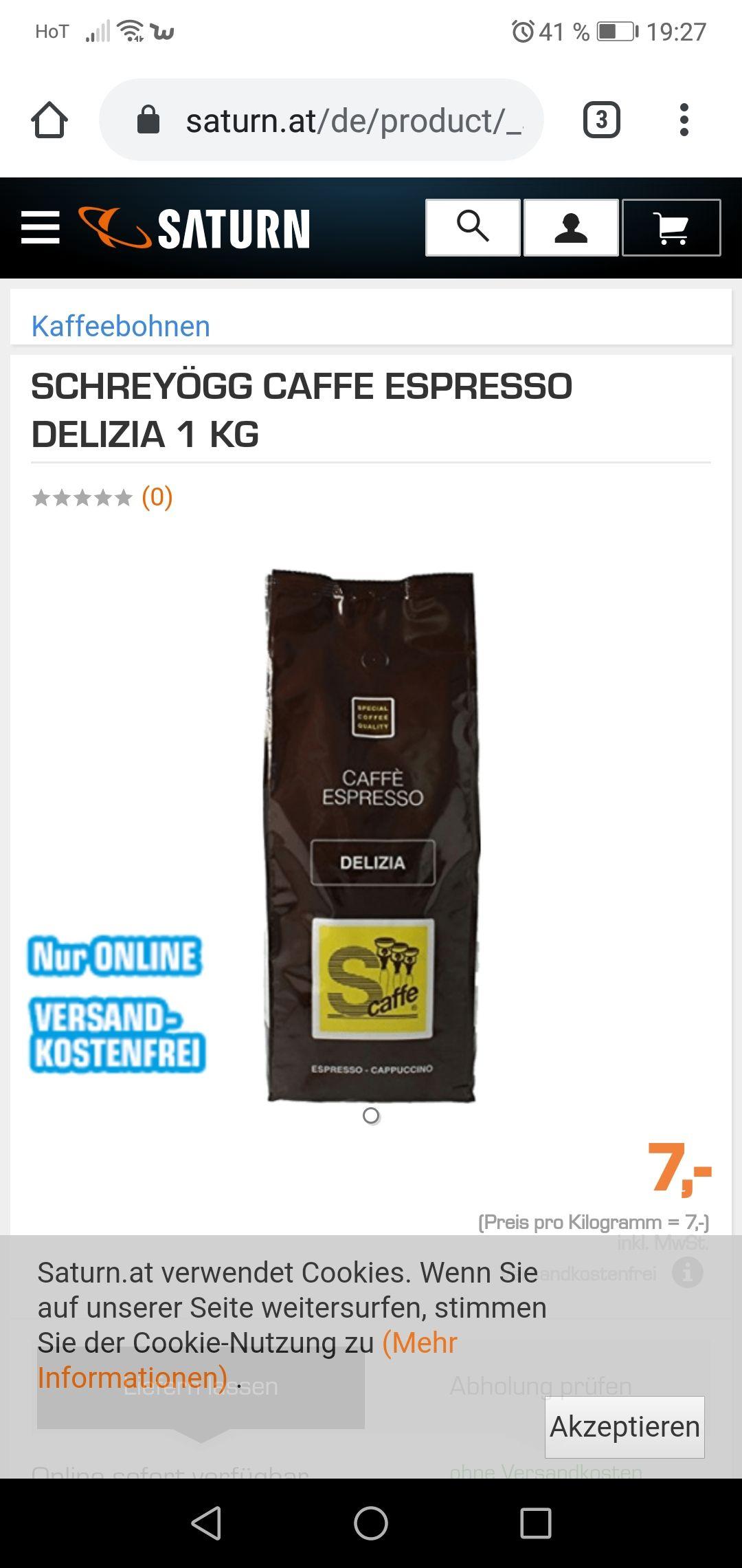 Saturn Kaffeebohnen 1 KG schreyögg caffee espresso delizia