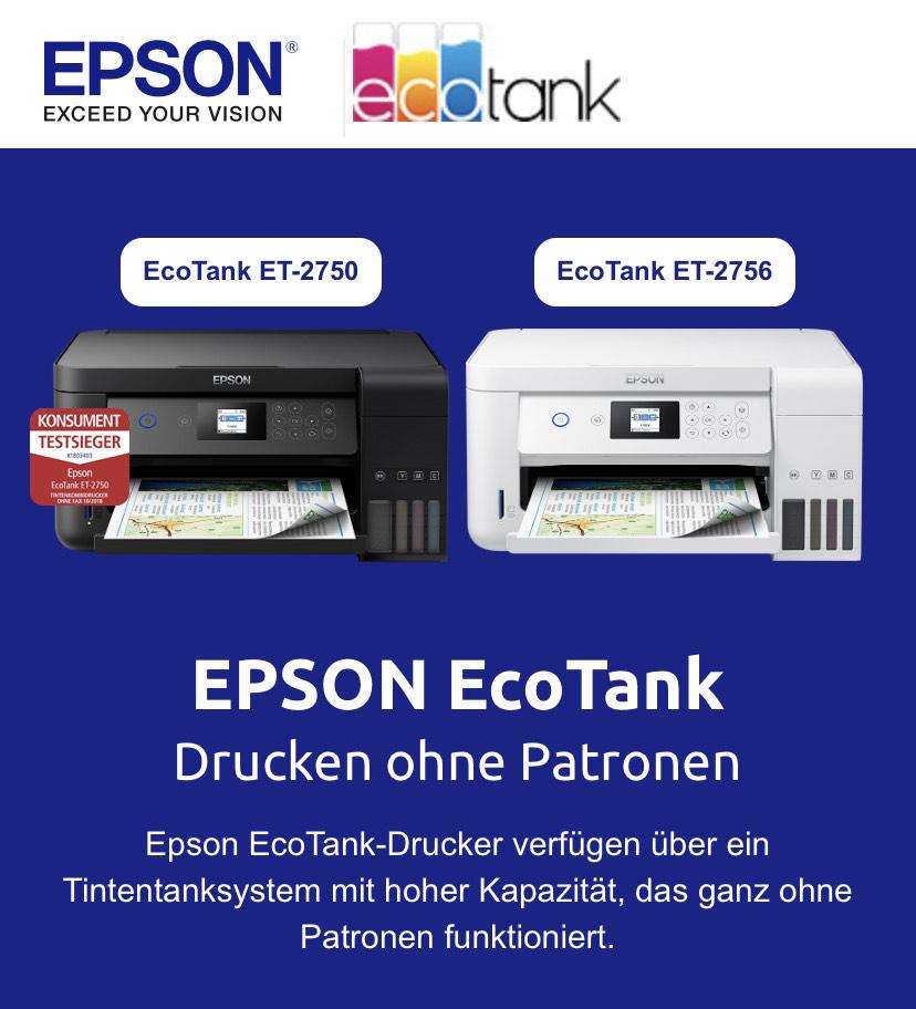 Drucker EPSON ECO Tank ET2750 - kostenloser Versand - Bestpreis