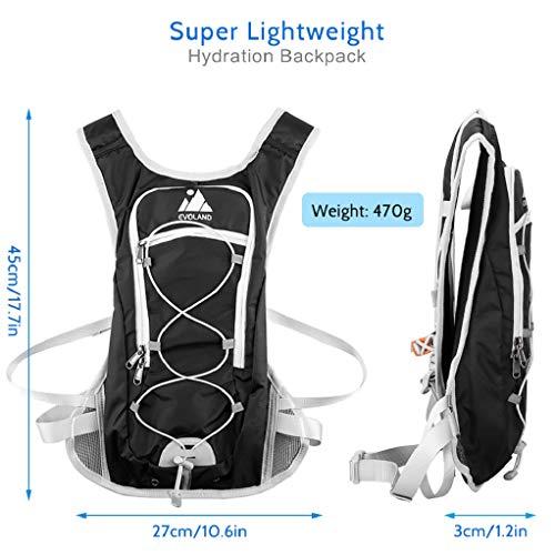 Trinkrucksack mit Trinkblase, Ultralight Fahrradrucksack Wasserdicht Laufrucksack Joggen mit Trinkbeutel für Bergsteigen, Laufen, Wandern