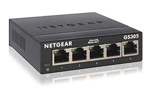 Netgear GS305-300PES 5-Port Gigabit Switch (lüfterlose Bauweise, robustes Metallgehäuse, RJ45-Anschlüsse aus Metall)