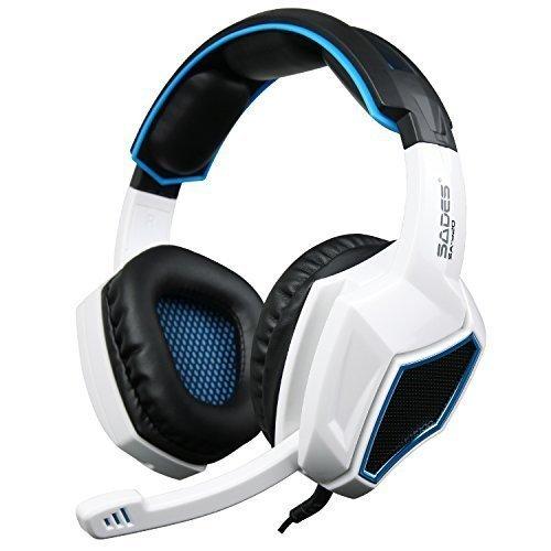 Gaming Headset, Stereo Gaming Kopfhörer mit Mikrofon für PS4 / Xbox One / PC (Weiß)