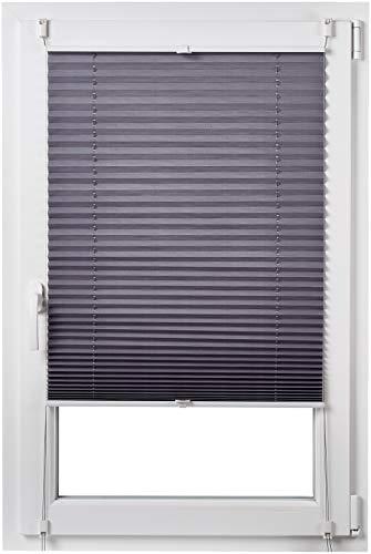 AmazonBasics - Faltrollo, robustes Polyestergewebe, mit Clip-System, 100 x 130 cm, Grau