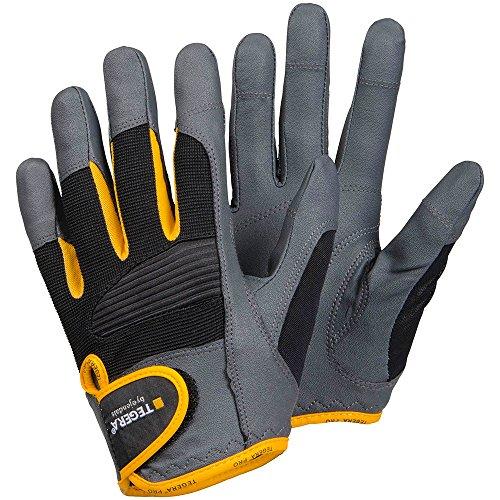 Schutzhandschuhe aus Synthetikleder Größe 11, grau/schwarz/gelb