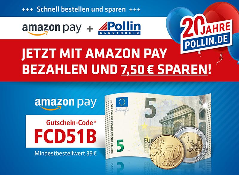 [Pollin] 7,50€ Rabatt ab MBW 39€ mit Amazon Pay
