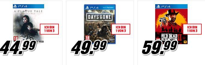 [Mediamarkt] 3 Spiele um 79,-€ auf ausgewählte Artikel zb....Days Gone (PS4) +  Red Dead Redemption 2 (PS4) + A Plague Tale: Innocence(PS4)