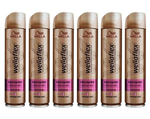 Wella Wellaflex Parfümfrei Haarspray für starken Halt, sanft zur Haut, (6 x 250 ml)