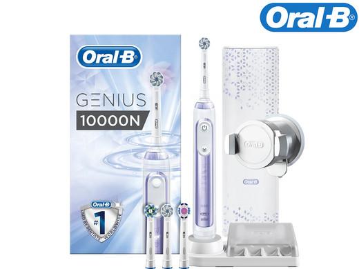 Oral-B Genius 10000N Elektrische Zahnbürste, mit Zahnfleischschutz-Assistent und Premium Lade-Reise-Etui, weiß