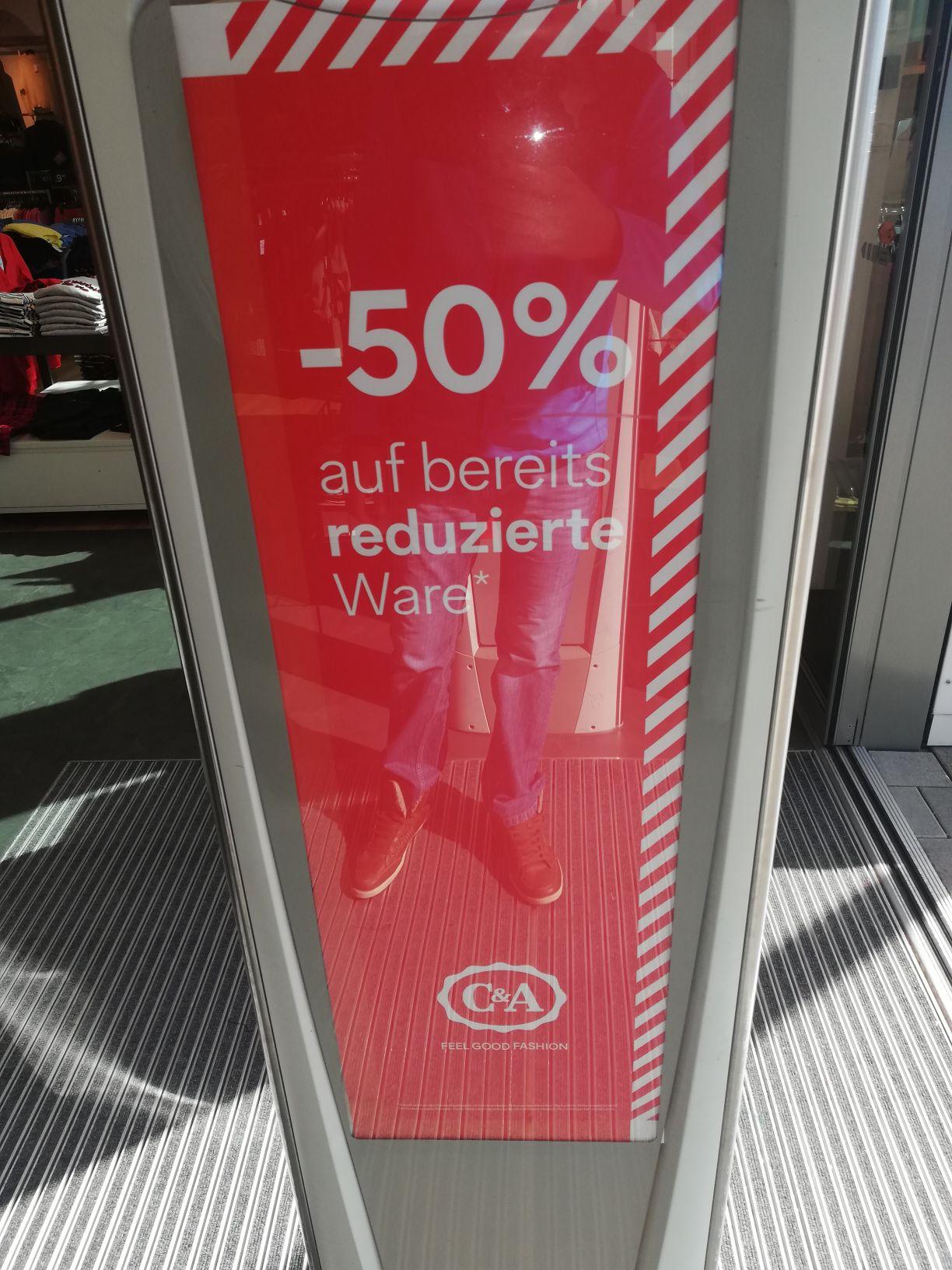 C&A minus 50 Prozent auf alles reduzierte