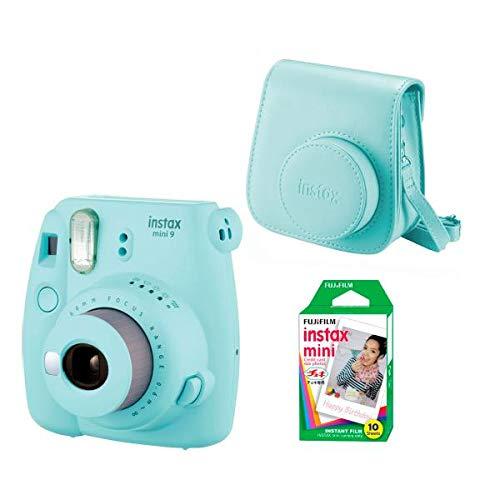 Fujifilm Instax Mini 9 Kamera, eis blau + Tasche + 10 Filme