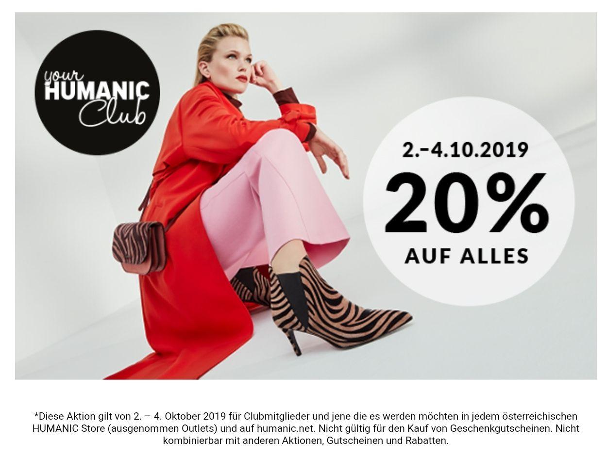 -20 % auf Alles, bei Humanic für Club-Mitglieder (online und in Stores)