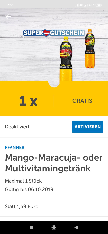 Gratis Multivitamin/ Mango-Maracuja Saft(Pfanner) bei Lidl