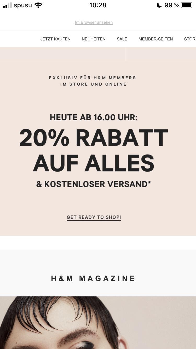 H&M 20% auf alles* für H&M Member