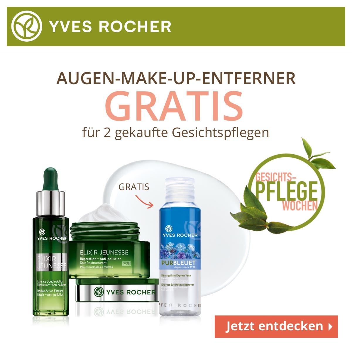 Gesichtspflege-Wochen (10 € Rabatt ab 45 € Bestellwert, Geschenke ab 10 € und 39 €, kostenloser Augen-MakeUp-Entferner)