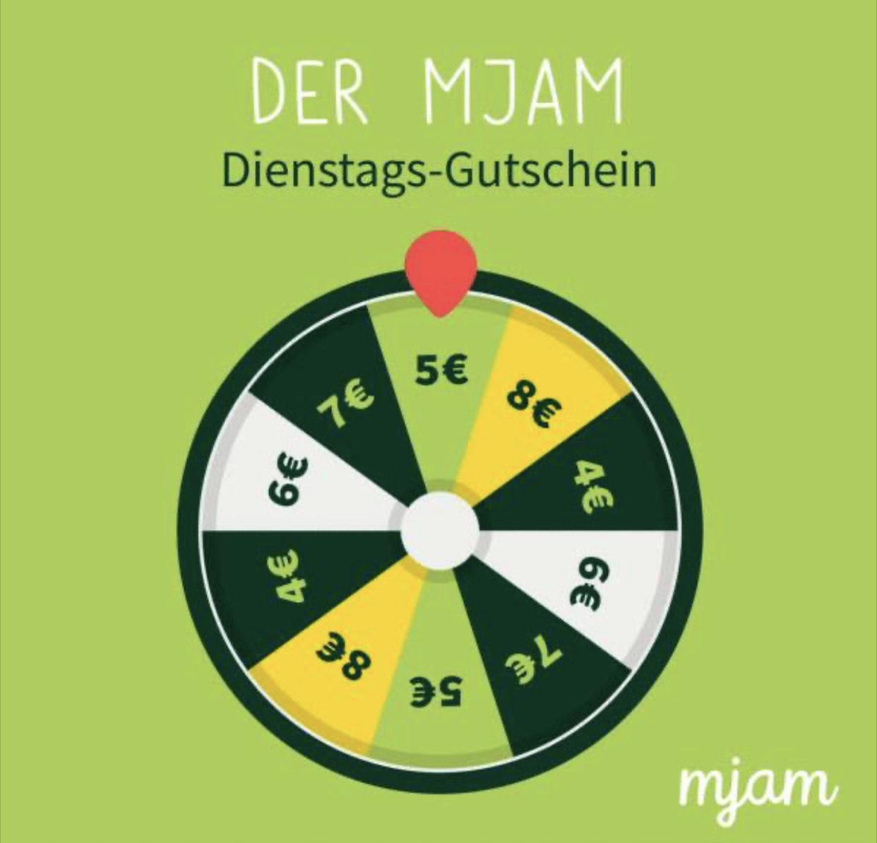 Mjam Gutschein Überraschungsgutschein: 4 - 8€ Rabatt bis 22:00