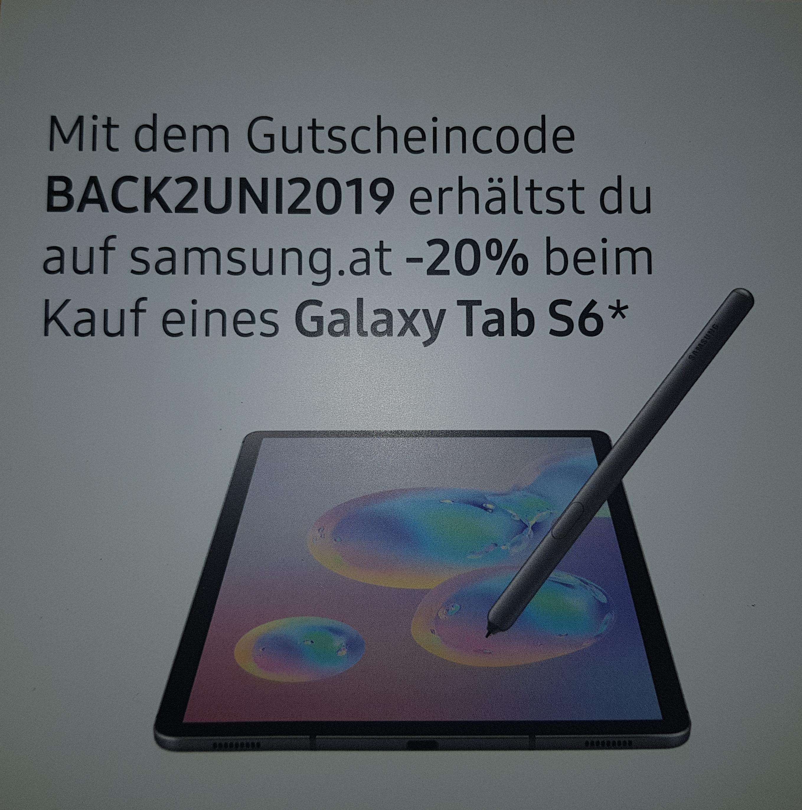 -20% Rabatt auf alle Galaxy Tab S6-Modelle