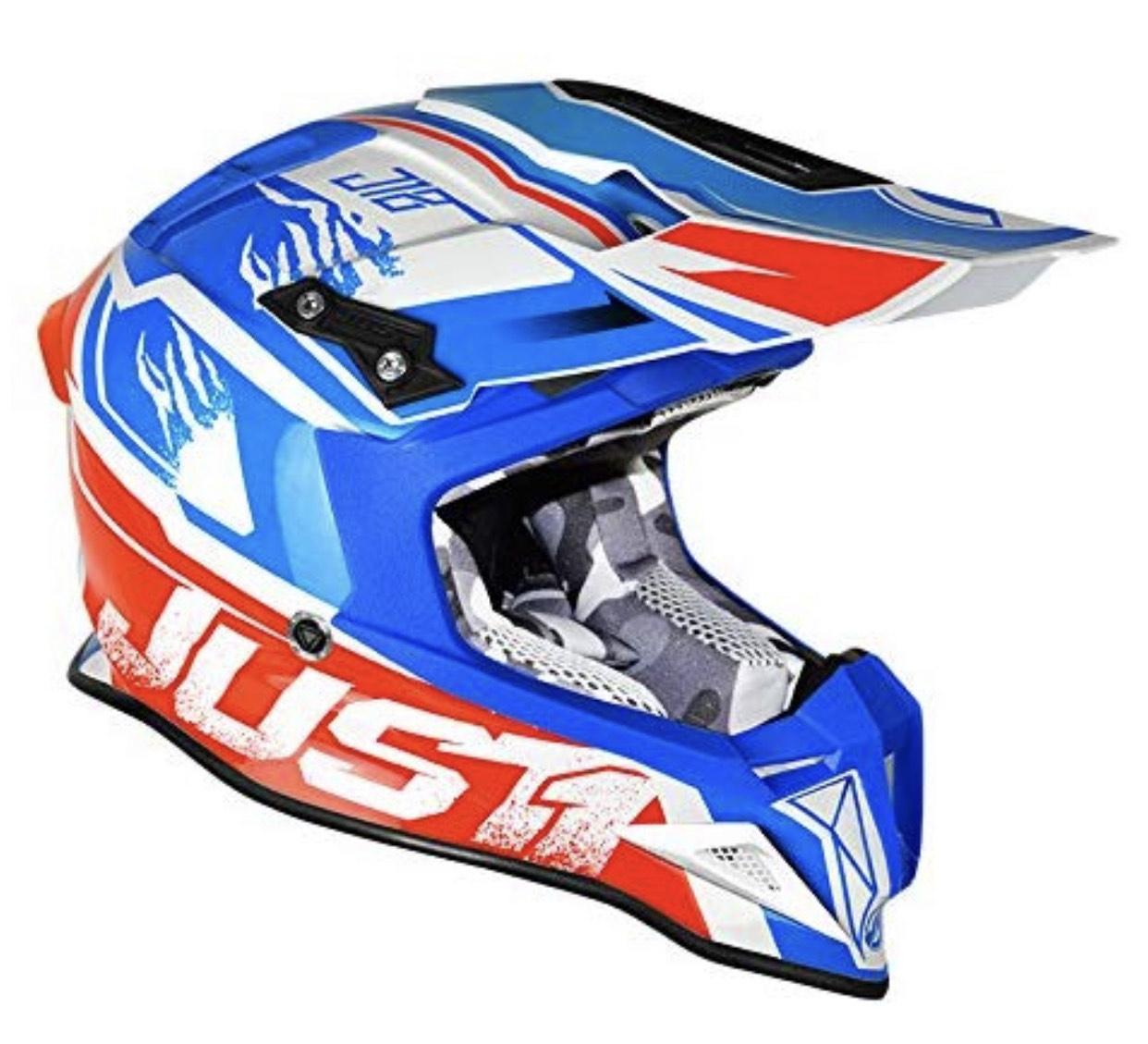 Kleiner Sportlicher Preisjäger: JUST1 Helme J12 Dominator, Weiß-Rot-Blau, XS