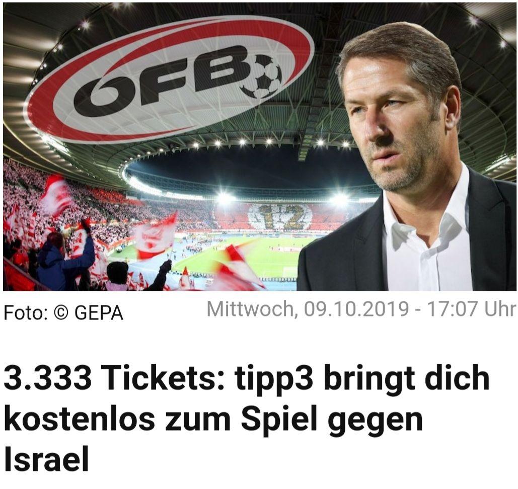 Gratis 3.333 Karten für das Ländermatch Österreich vs. Israel