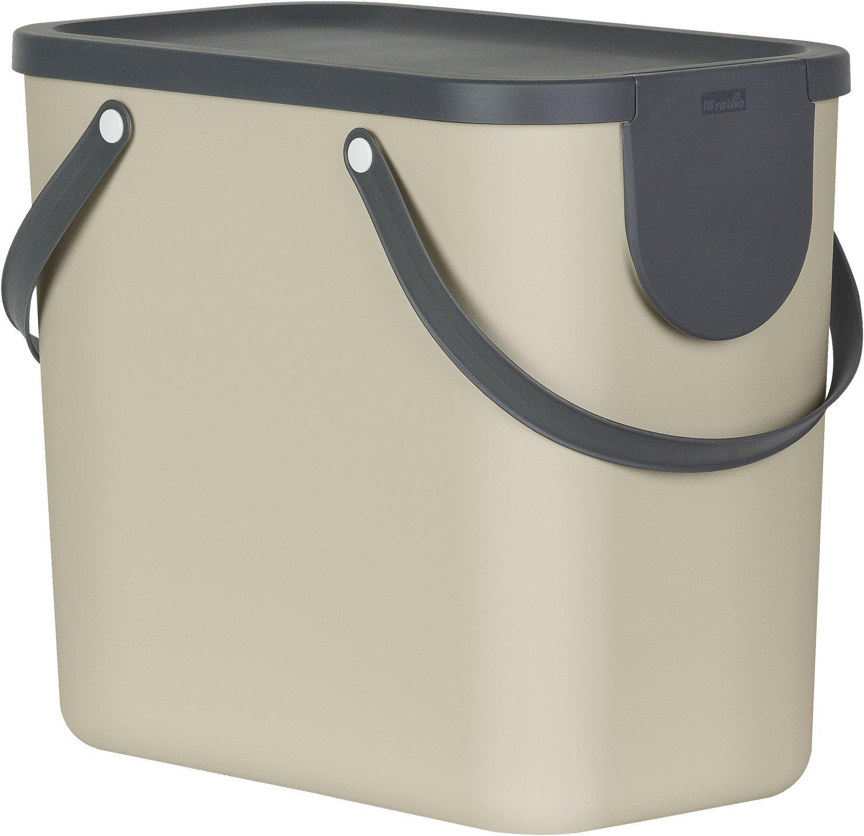Rotho Albula Mülltrennungssystem für Küche / Mülleimer 25L / cappuccino/anthrazit