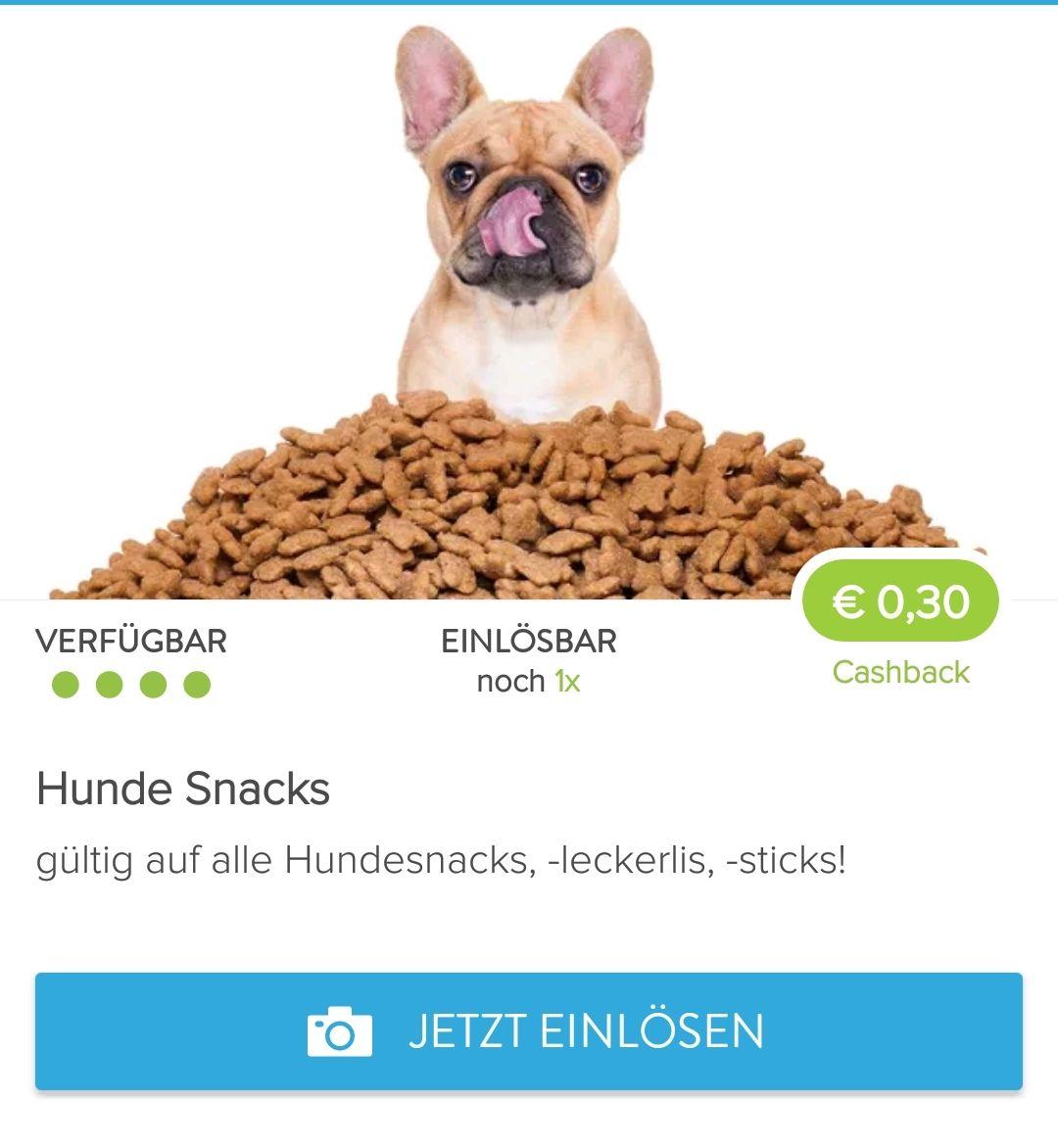 Marktguru: 30 Cent Cashback auf alle Hundeleckerlis
