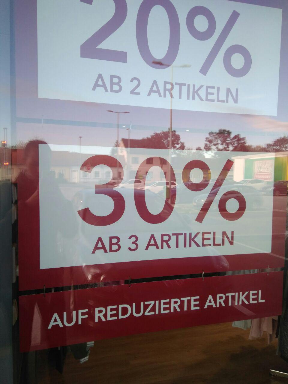 20% Rabatt ab zwei / 30% Rabatt ab drei reduzierten Artikeln
