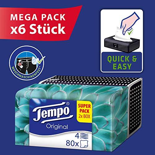 Mega Pack 12 Boxen Tempo Original Duo-Box Taschentücher, 4-lagig (6 x 2 Boxen x je 80 Tücher)