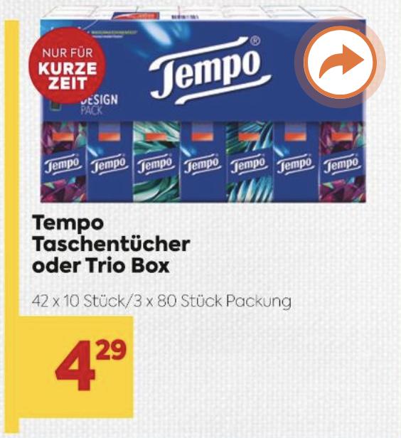 BILLA: Tempo Taschentücher 42 x 10 Stück (0,008 € je Taschentuch) mit -25 % Sticker