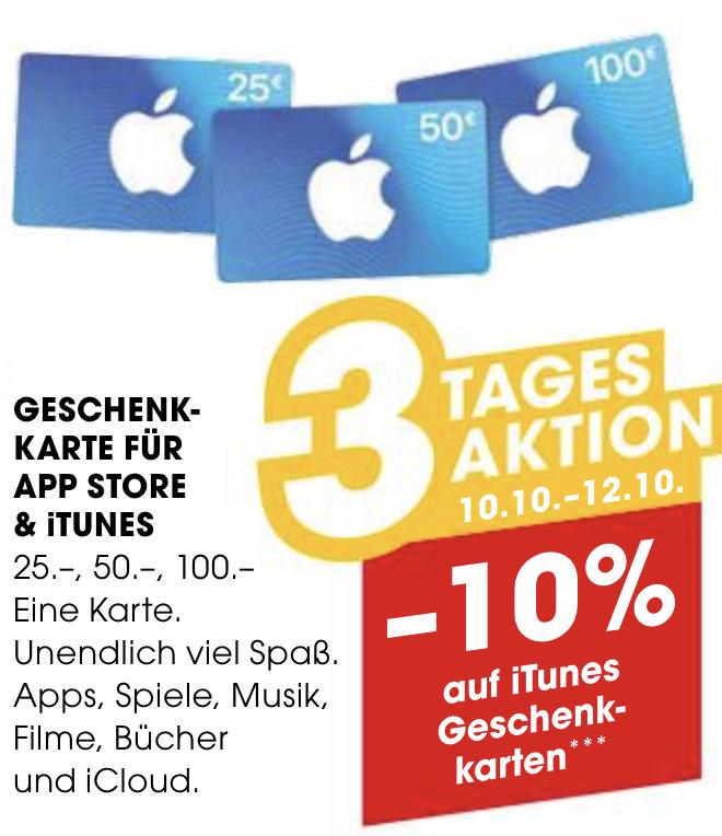 -10% Rabatt auf alle Apple iTunes Karten - bis 12.10.2019