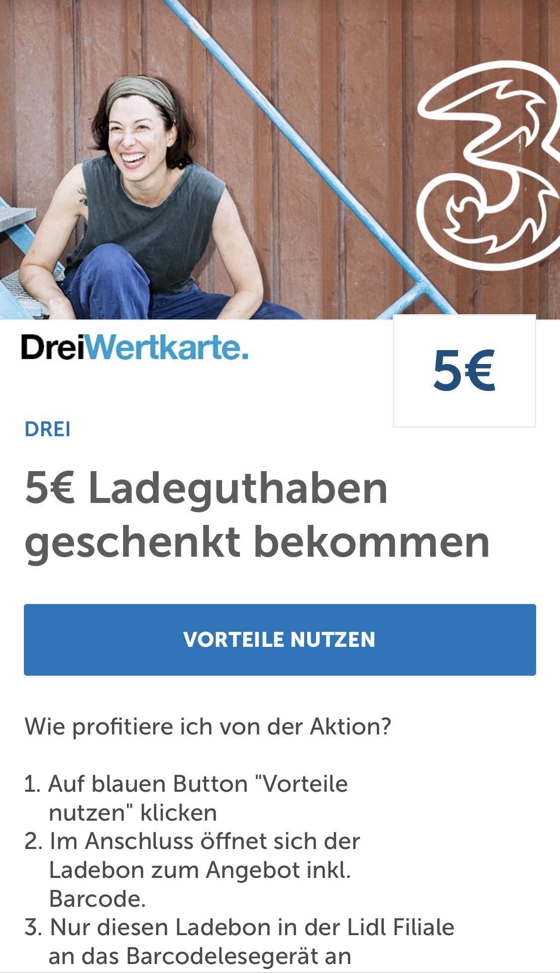 """25 € Drei """"3"""" Ladebon um 20 €"""