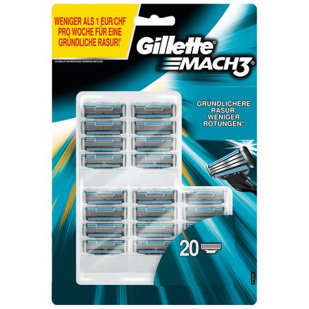 Gillette Mach3 Rasierklingen 20 Stück (1,13€ je Klinge) mit -25 % Code