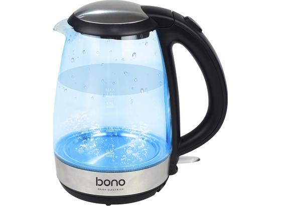 Bono Elvis Glaswasserkocher (2200W, 1,7L Fassimgsvermögen, blaue LED, Überhitzungsschutz, kabelloser Wasserbehälter)