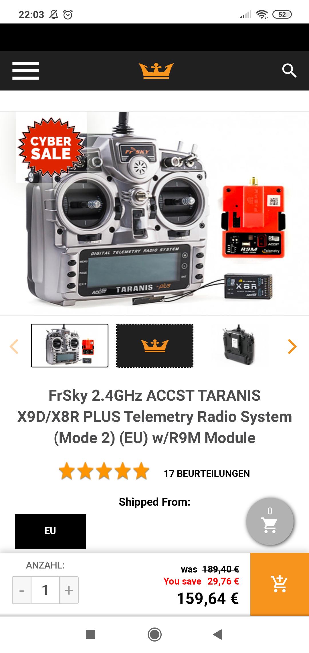 Für alle OpenTX Freaks: FrSky 2.4GHz ACCST TARANIS X9D/X8R PLUS Telemetry Radio System (Mode 2) (EU) w/R9M Module