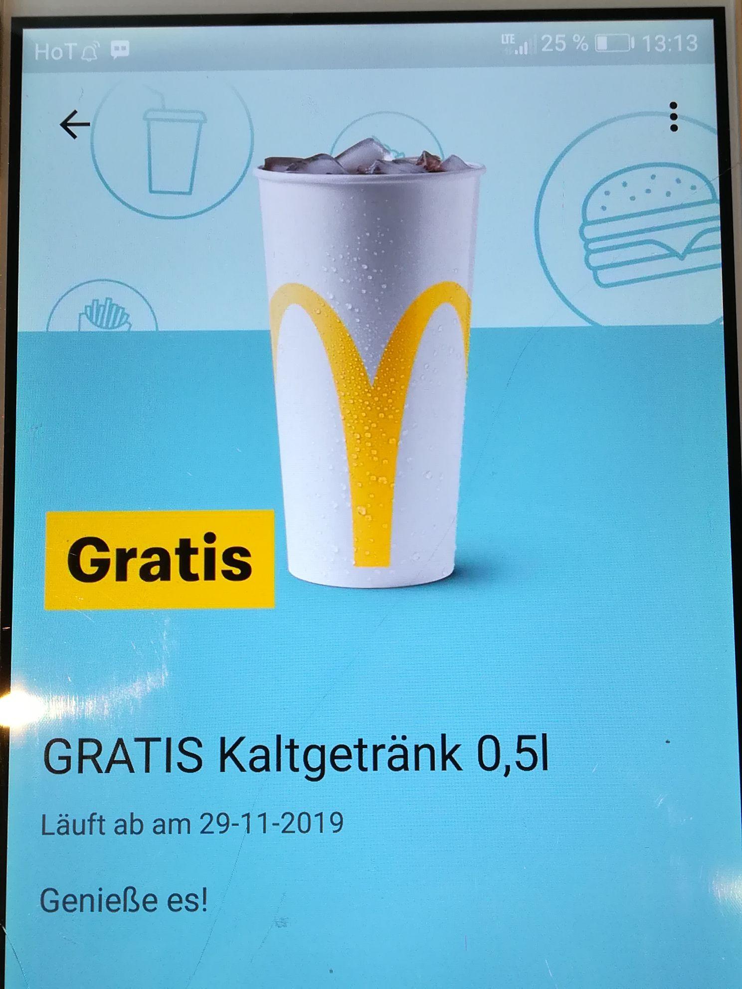 Mc Donalds App - Gratis Kaltgetränk 0,5l (nicht für alle!!!)