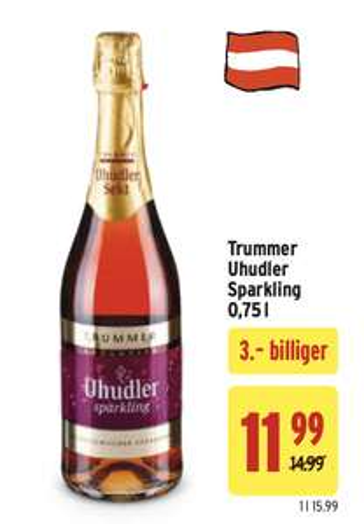 Trummer Uhudler Sparkling 0,75 l mit -25 % Sticker