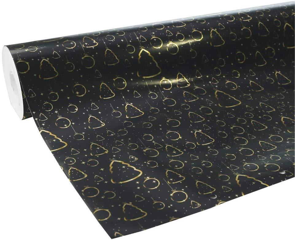 www.AMAZON.de l *HO*HO*HO* l Clairefontaine Geschenkpapier Premium (50 Meter x 0,70m, 80g/qm) 1 Rolle Weihnachten Schwarz/Gold