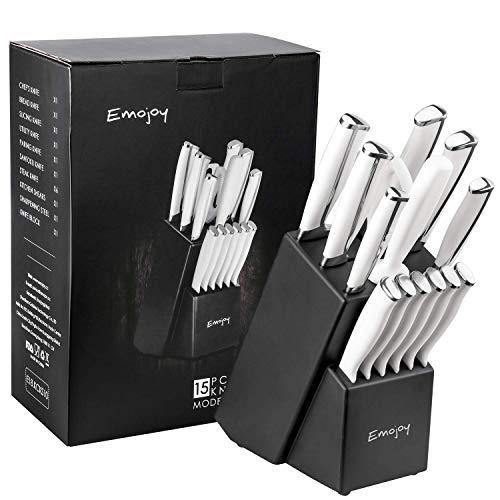 15-teiliger Messerblock, schwarz oder weiß