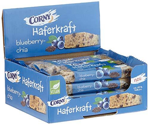 CORNY Haferkraft Blueberry-Chia, weicher Haferriegel, 12er Pack (12 x 65 g Riegel)
