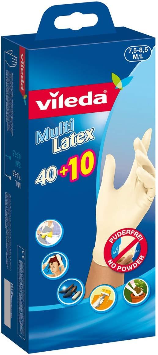 Haushaltsjäger - 100 Stück Vileda Multi Latex Handschuhe 40+10 M/L, 2er Pack (2 x 50 Stück)