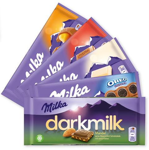 Milka Schokolade Staffelrabatt: 2 für je 0,79 € / 3 für je 0,69 € / ab 5 für je 0,59 €