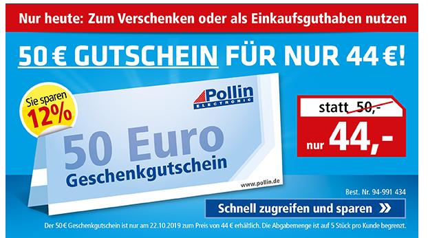 pollin.at 50€ Pollin Electronic Gutschein um 44€