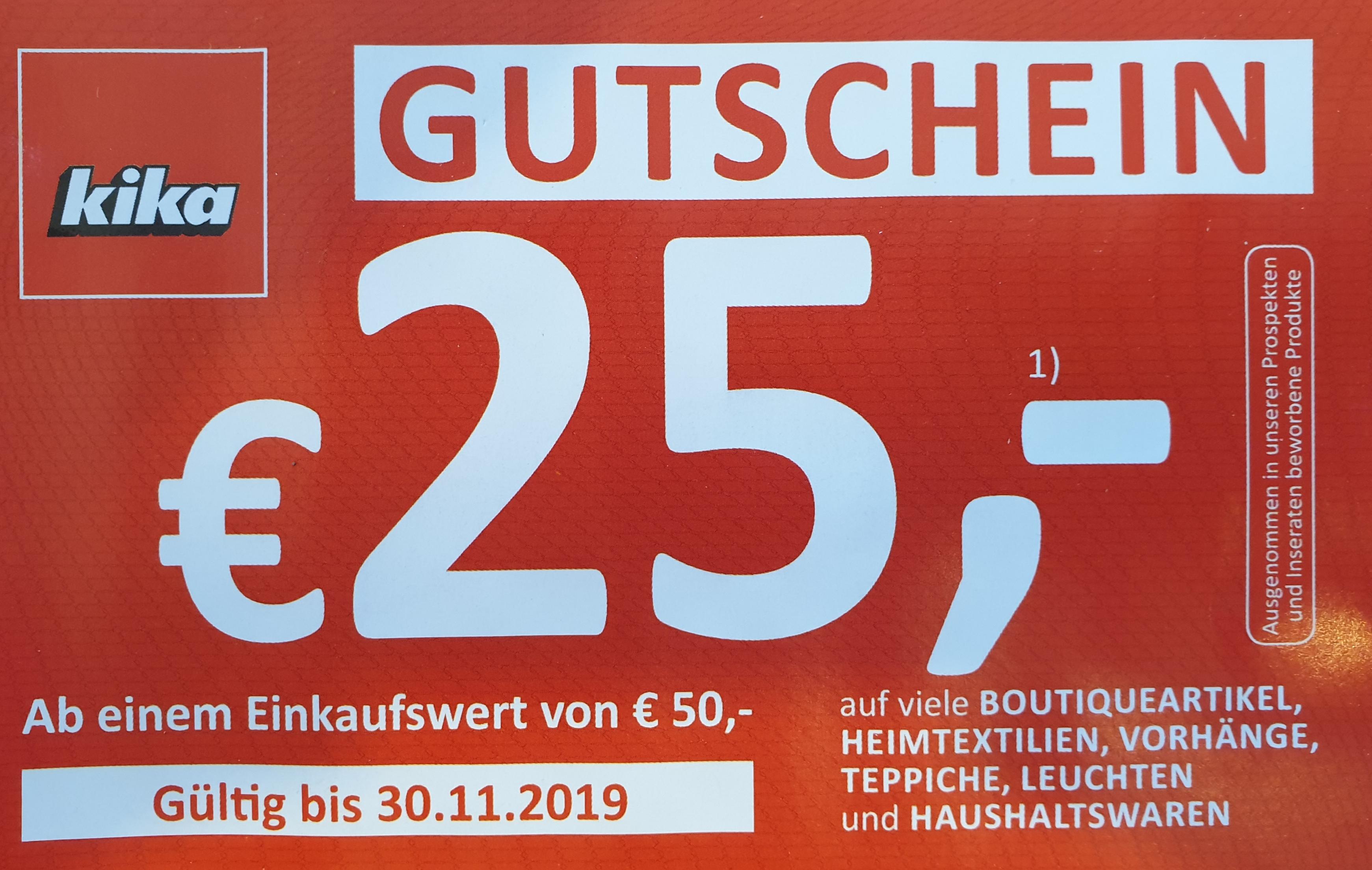 kika: EUR 25,-- Rabatt ab EUR 50,-- Einkauf