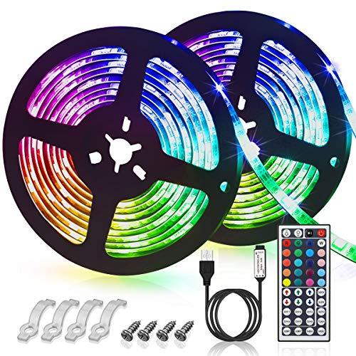 GLIME LED Streifen 6M Led Stripes RGB, 6 Modi 20 Farben dimmbar IP65 Wasserdicht 2x3m