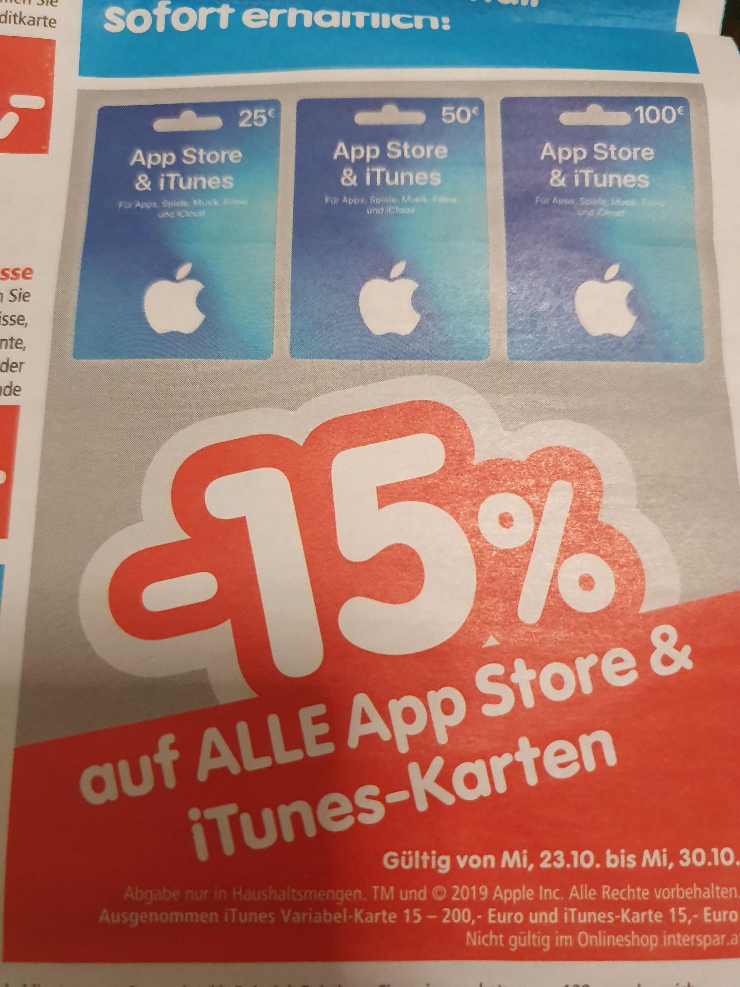 (iTunes) -15% auf AppStore und Itunes Karten Interspar