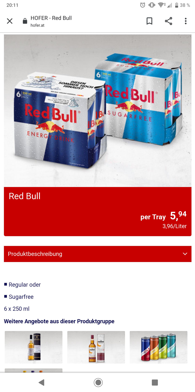6er-Tray Red Bull im Angebot bei Hofer