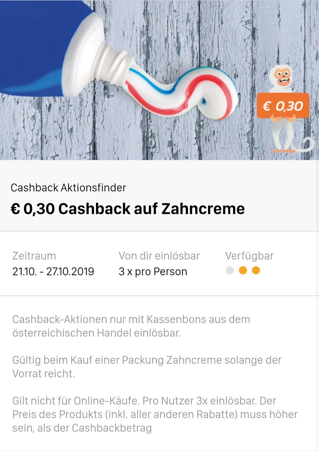 0,30€ Cashback auf Zahncreme