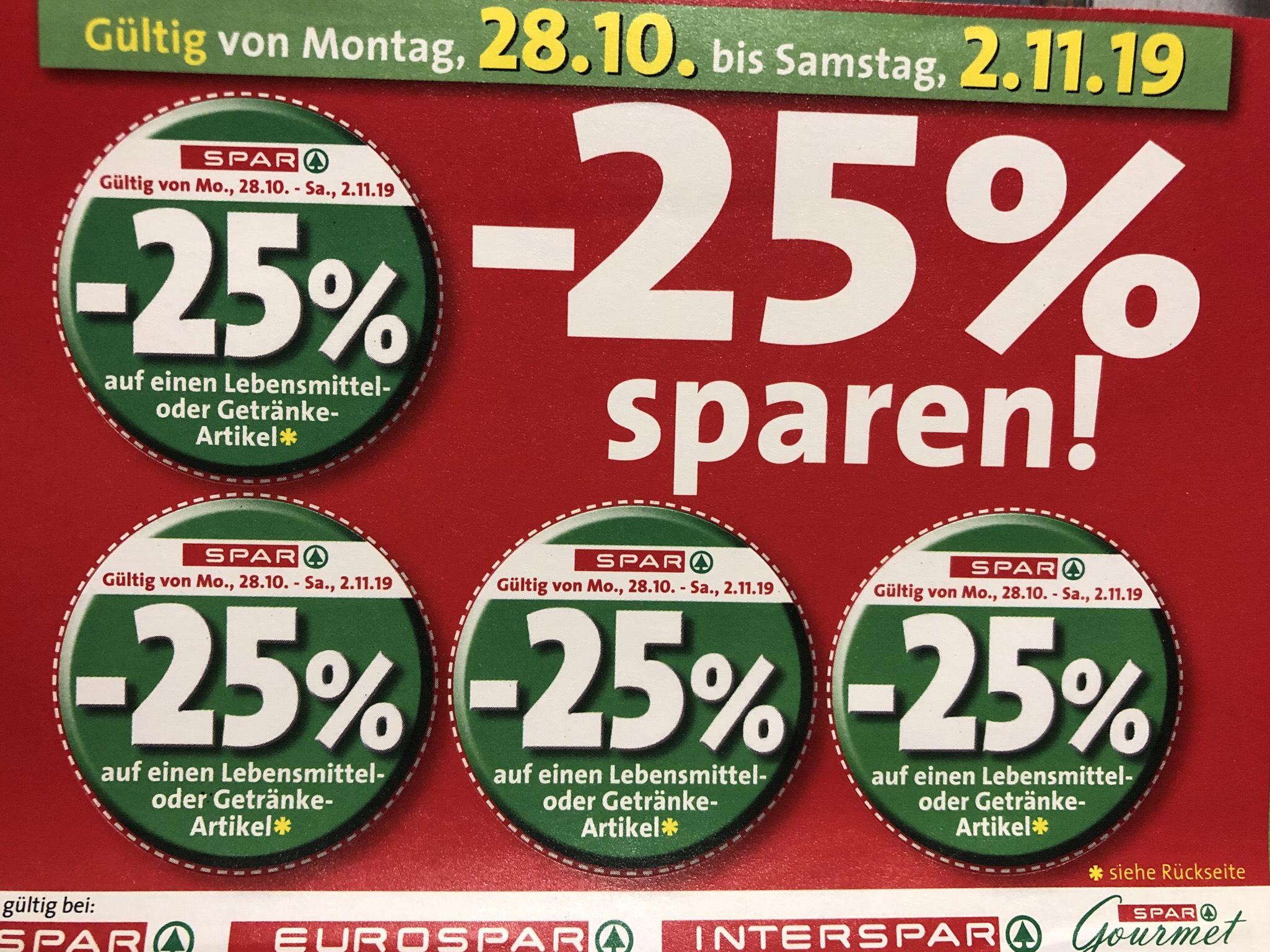 SPAR -25% Sticker (auf einen Lebensmittel- und Getränkeartikel)