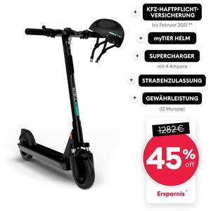 TIER eScooter (generalüberholt) mit Straßenzulassung, Helm, Schnell Ladegerät