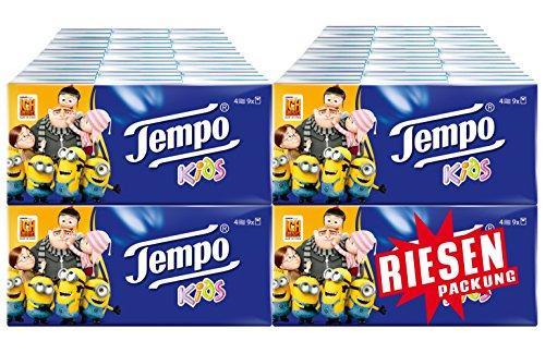AMAZON.de l Tempo Kids Taschentücher 4-lagig Riesenpackung 40 Packungen = 360 Stück Einzelpackungen!